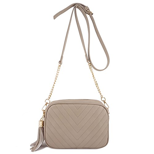 Simple Shoulder Crossbody Bag With Metal Chain Strap And Tassel Top Zipper (Taupe) by 153corp (Image #6)