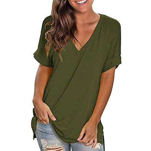 - Emimarol Women Blouse Summer V Neck Short Sleeve Shirt Casual Solid Tunic Tops Blouse
