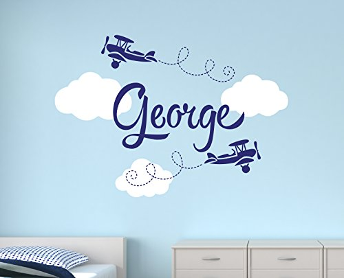 Custom Airplane Name Wall Decal - Boys Name Wall Decals - Nursery Wall Decals - Airplanes Wall Decor