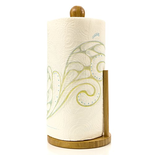 Intriom Paper Towel Holder Tissue Roll Kitchen Counter Top Made of Organic Bamboo Wood By Bamboo Collection by Intriom (Image #2)
