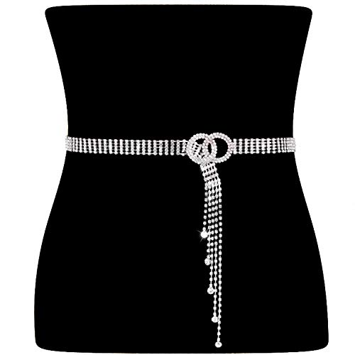 Women Rhinestone Belt Silver Shiny Diamond Fashion Crystal Ladies Double O-Ring Waist Belt for Jeans Dresses by WHIPPY S