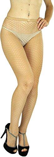 Lurex Tights Gold (ToBeInStyle Women's Seamless Diamond Net Spandex Nylon Blend Pantyhose - BEIGE - One Size Regular)