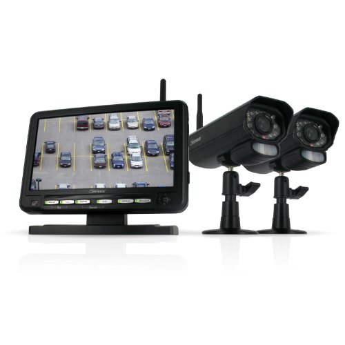 Defender Digital Wireless DVR Security System with 7 Inch LCD Monitor, SD Card Recording and 2 Long Range Night Vision Cameras (Black) (Defender Wireless Camera)