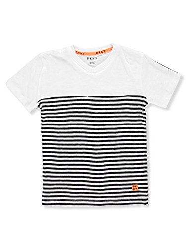 DKNY Toddler Boys' Short Sleeve Henley Made of Slub Skip Mini Stripe Jersey, White, (Mini T-shirt Henley)