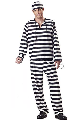 Tutu Dreams Adult Jail Prisoner Zombie Costumes DIY Men Woman (X-Large, Men-Stripe)