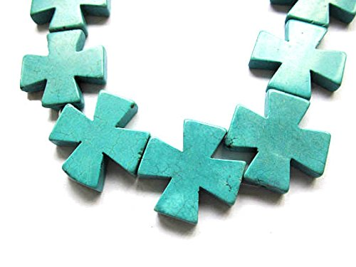 (A+ 20mm Natural Turquoise Gemstone cross cross ring focal Assorted Turquoise Beads\pendant strand 16inch)