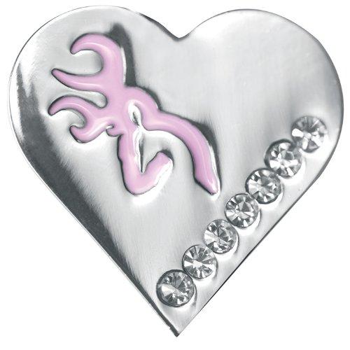 Browning Pink Bling Silver Heart Earrings, Pair