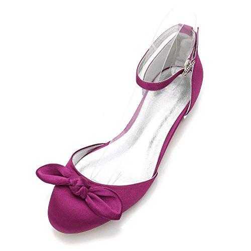 L@YC Frauen Hochzeit Schuhe F5049-27 Side Rock Bowknot Seide & Nacht Wohnungen Frühling Sommer Abendkleider # Purple