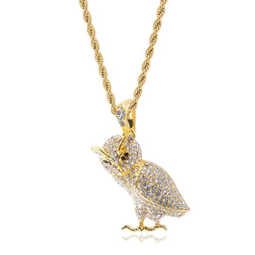 Halin Dre Hip Hop Night Club Plated 18K Gold Iced Out Animal Owl Pendant Stainless Steel Chain Necklace(Gold)