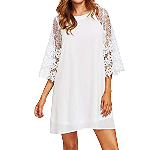 Chiffon Dress Hot Sale! DEATU Women Fashion Casual Crewneck Hollow out Half Sleeve Lace Autumn Ladies Solid Dress(White,M) -