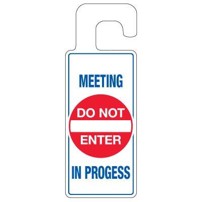 Calendered Vinyl Door Knob Hangers - Meeting In Progress