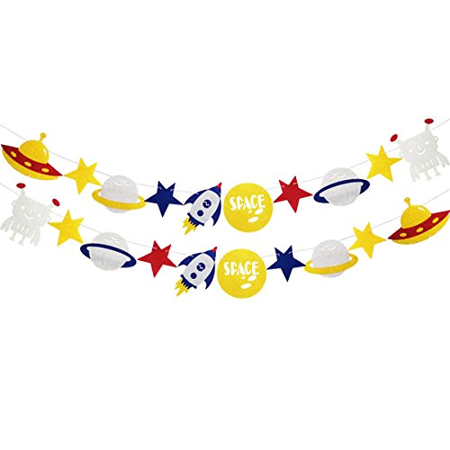 Finseng Solar System Outer Space Rocket Alien Banner Garland for Birthday Party Baby Shower Supplies Decorations - Banner System