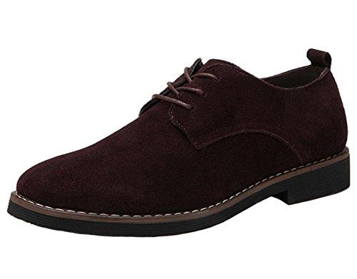 Damen Schnürhalbschuhe Künstlich-Veloursleder-Leder Oxfords Stiefel Freizeitschuhe Mädchen Braun 37 zFIBL