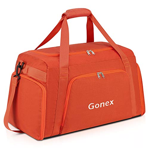 Gonex 60L Travel Duffle Bag, Weekender Overnight Duffel Bag with Shoe Compartment for Sports, Gym, Carry on Orange