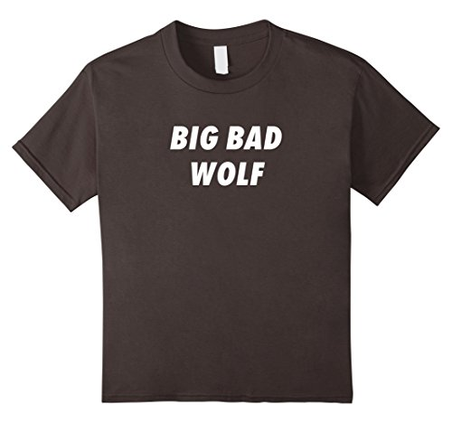 Big Bad Wolf Costume Kids Diy (Kids Big Bad Wolf Funny Wolf Halloween Costume T-Shirt 4 Asphalt)