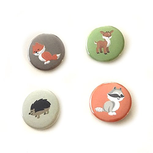 12 pcs set woodland animals theme pinback DIAMETER 1.5'' or 2.25'' buttons for birthday party favors collectible flair pin by Party Quine
