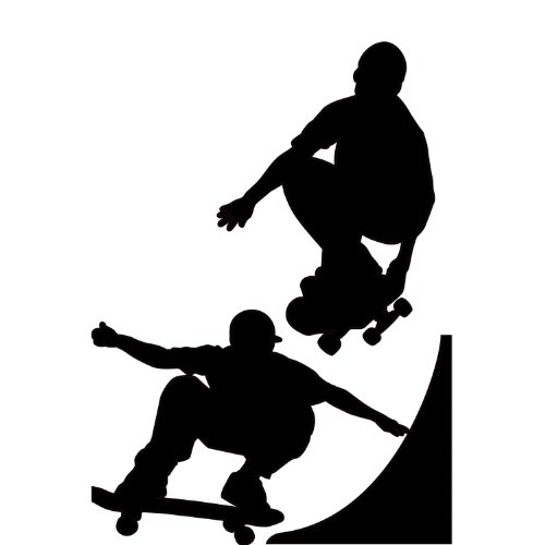 RoomMates RMK1313GM Chalkboard Skaters Peel & Stick Wall Decals