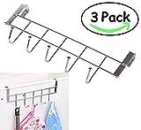 3 Packs Over The Cabinet Door Hooks, 5 Hooks Organizer Rack - Wardrobe Hanger - Kitchen Office Storage, Chrome Finish