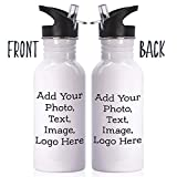Personalized Custom Water Bottle - Add Your Photo, Text, Logo, Monogram - 8 Different Fonts & Colors - 16oz Water Bottle with Lid and Straw