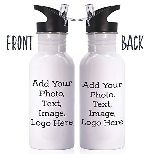 (Customizable Water Bottle with Your Custom Photo and Text - Personalized 16oz Insulated Water Bottle with Straw and Lid - Create Your Own Design with)