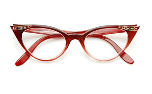 Cateye or High Pointed Eyeglasses or Sunglasses Vintage Inspired Fashion (Red Fade Frame Clear)