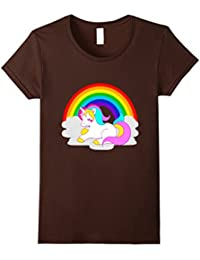 White Unicorn Cartoon on Cloud with Rainbow T-Shirt, Fantasy