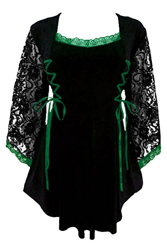 Dare to Wear Victorian Gothic Boho Women's Plus Size Anastasia Corset Top Black/Emerald (Celtic Renaissance Clothing)