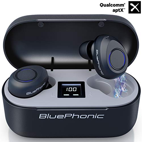 Bluephonic True Wireless Earbuds, Bluetooth 5.0 aptX HD Sound in Ear Totally Wireless Earphones, 32Hr Play Auto Pairing IPX7 Sweatproof Sport Headset, Built in Mic, Dual Speaker for Calls