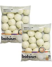 Bolsius Unscented Floating Candles - Set of 40 Ivory Floating Candles 1.3/4 inch - Elegant Burning Candles - Candles Nice Smooth Flame - Party Accessories