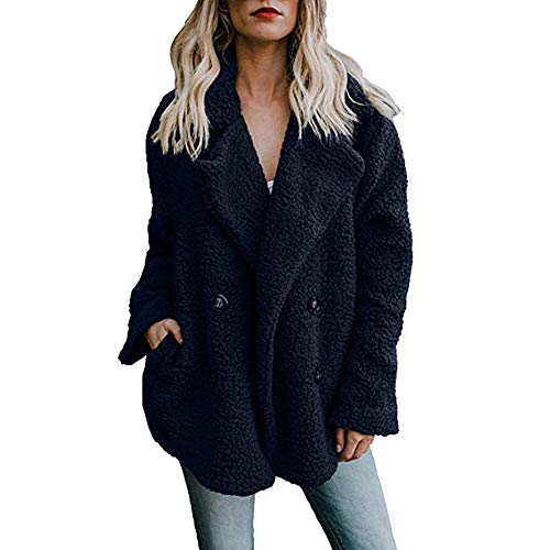 (Dressin Womens Winter Open Front Fleece Coat Cardigan Button Solid Jacket Outwear with Pockets)