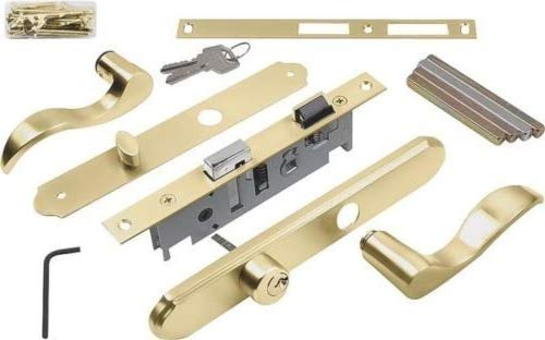 (H&H) New Brass Screen Storm Dorr Mortise Lever Lockset/fits Doors 1-1/8'' to 2'' Thick Doors