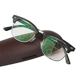 WEARKAPER Multi-Focal Progressive Reading Glasses Men Women Presbyopic Eyeglasses With Case (2.25X, Black)
