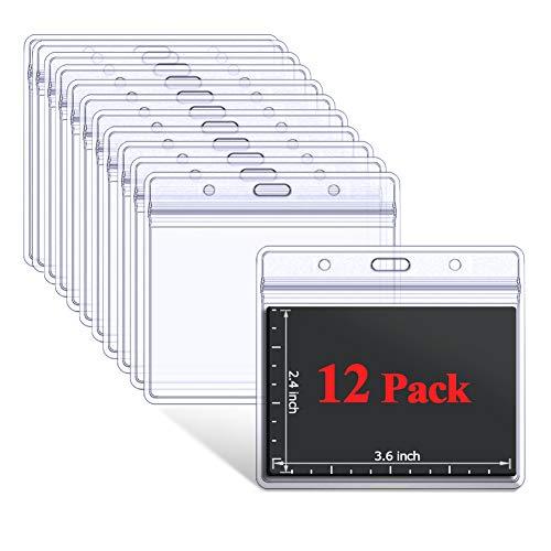 (Waterproof Clear Plastic Horizontal ID Card Badge Holders 12 Pcs)