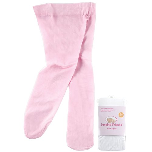 Luvable Friends Nylon Knit Tights For Baby, Pink