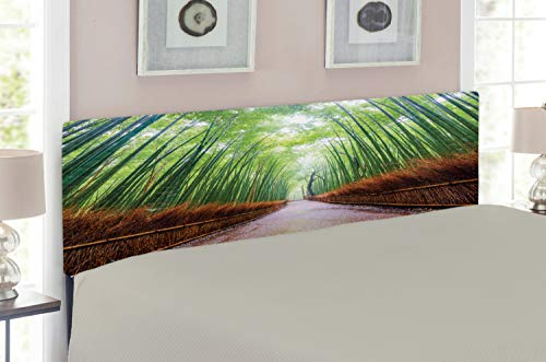 Kyoto King Bed - Lunarable Japanese Headboard for King Size Bed, Path to Bamboo Forest Arashiyama Kyoto Japan Japanese Famous Landscape, Upholstered Decorative Metal Headboard with Memory Foam, Fern Green Redwood