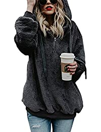 Womens Sweatshirt - Long Sleeve 1/4 Zip Up Faux Fleece...