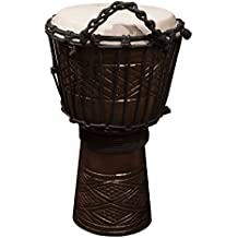 """Sawtooth Tribe Series 8"""" Hand Carved Congo Design Rope Djembe"""