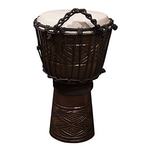 Sawtooth Tribe Series 8'' Hand Carved Congo Design Rope Djembe by Rise by Sawtooth