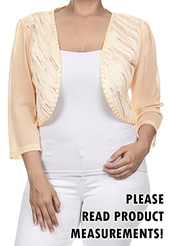 Womens Plus Size 3/4 Sheer Sleeve Sequin Front Cropped Bolero Shrug (3x, Ivory)