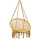 ZHAO YELONG Hollow Weaving Hanging Chair with A Round Quilted Cover, Swing 120kg (260 Lbs) Load Bearing (Color : Yellow)