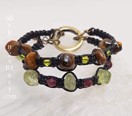 Genuine tigers eye & green quartz mix & match bracelet set by All Things BA Art