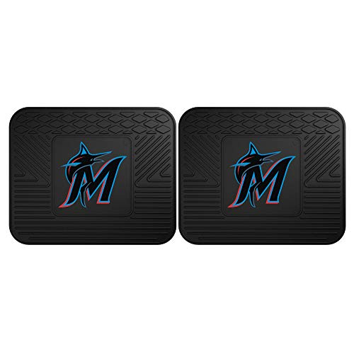 Fanmats 12333 MLB Miami Marlins Rear Second Row Vinyl Heavy Duty Utility Mat, (Pack of 2)