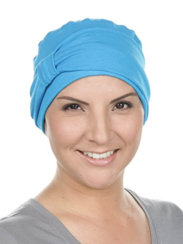Comfort Cotton Sleep Cap & Headband Chemo Hat Beanie Turban for Cancer Turquoise Blue