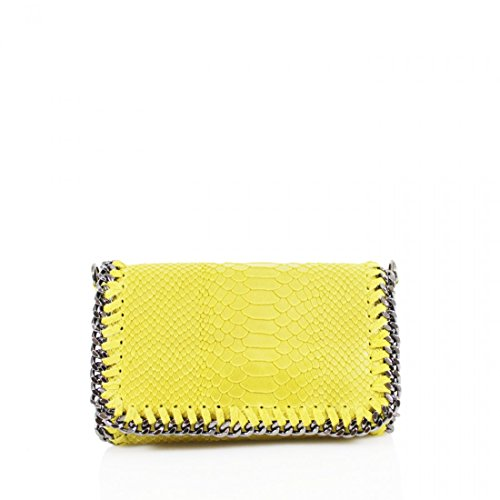 Women Cross Body Yellow Trim Bags Effect Stich Real Leather Embossed Snakeskin Ladies Shoulder Girls Chain Bags wUz8Pqx