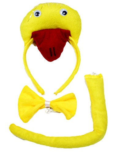 Yellow Duck Headband Bowtie Tail 3pc Costume for Children Halloween or Party