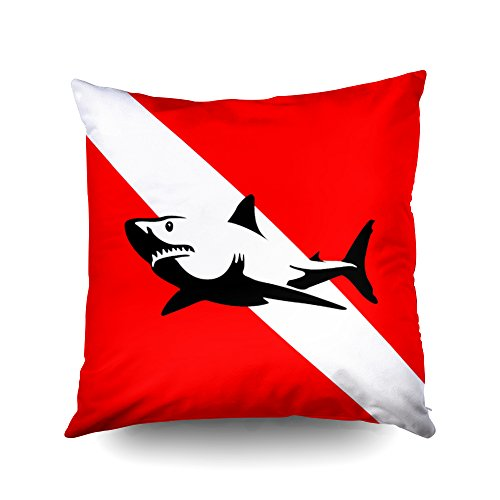 Capsceoll scuba divers flag shark Decorative Throw Pillow Case 18X18Inch,Home Decoration Pillowcase Zippered Pillow Covers Cushion Cover with Words for Book Lover Worm Sofa Couch ()