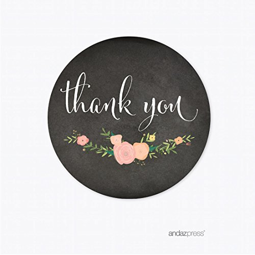 Andaz Press Chalkboard Floral Party Wedding Collection, Round Circle Label Stickers, Thank You, 40-Pack, Baby Bridal Shower Birthday Baptism Anniversary Decor Decorations (Bridal Shower Stickers)