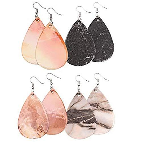 Dangle Leather (Marble Earrings Lightweight Faux Leather Teardrop Earrings Handmade DIY Dangle Earrings for Women 4 Pairs)