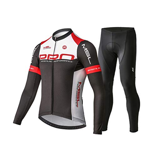 Mysenlan Men's Cycling Long Sleeve Breathable Jersey Set 3D Padded Long Pants Bike Shirt Bicycle Tights Clothing Black M