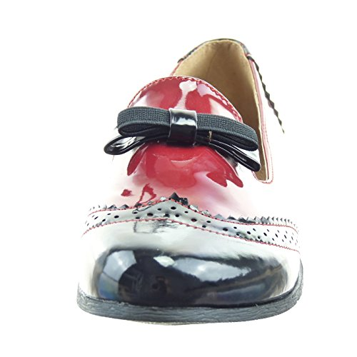 Sopily - damen Mode Schuhe Mokassin Ballerina Perforiert Knoten Patent - Rot WLD-8-B19 T 40
